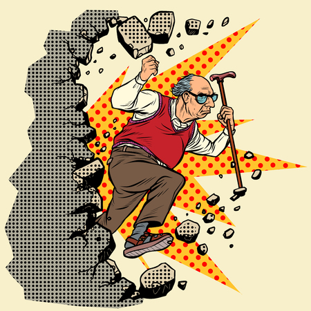 active old man pensioner breaks the wall of stereotypess. Moving forward, personal development. Pop art retro vector illustration vintage kitsch Stock Vector - 124172273