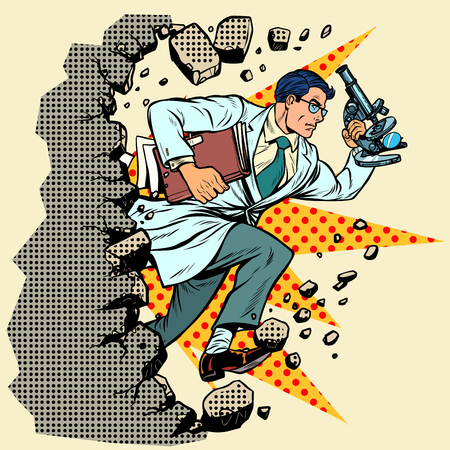 scientist with microscope breaks a wall, destroys stereotypes. Moving forward, personal development. Pop art retro vector illustration vintage kitsch Illustration