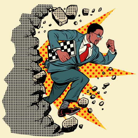 african chess grandmaster breaks a wall, destroys stereotypes. Moving forward, personal development. Pop art retro vector illustration vintage kitsch