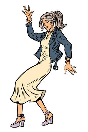 girl in elegant dress. woman disco dance. isolate on white background Pop art retro vector illustration vintage kitsch 50s 60s