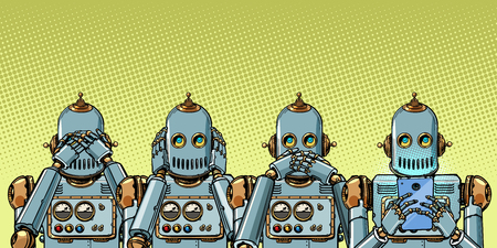 robot with telephone, Internet addiction concept. not see hear say. Pop art retro vector illustration vintage kitsch