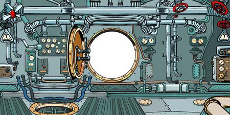 Abteil oder Kommandodeck eines U-Bootes. Pop-Art Retro-Vektor-Illustration Vintage-Kitsch