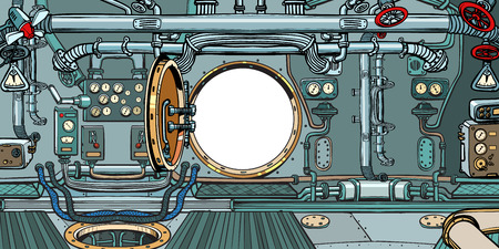 compartment or command deck of a submarine. Pop art retro vector illustration vintage kitsch Stock Vector - 120091669