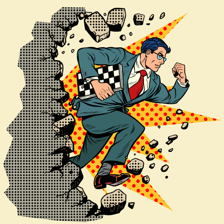 chess grandmaster breaks a wall, destroys stereotypes. Moving forward, personal development. Pop art retro vector illustration vintage kitsch Çizim