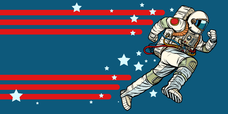 astronaut runs forward. stars of the universe. Pop art retro vector illustration vintage kitsch Illustration