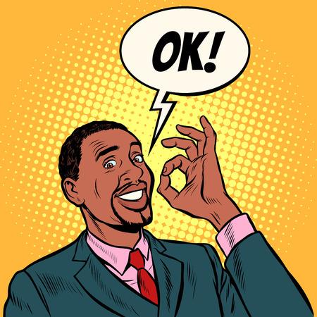 OK Afrikaanse man zakenman. handgebaar oke. succes goed. Popart retro vector illustratie vintage kitsch 50s 60s Vector Illustratie