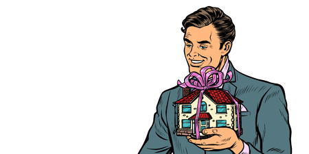 Businessman selling real estate, house as a gift. isolate on white background Pop art retro vector illustration drawing kitsch vintage Illustration