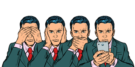 Ne pas voir dire regarder, concept de communication smartphone. Isoler sur fond blanc Pop art retro vector illustration kitsch vintage des années 50 60