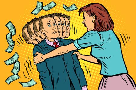 demanda de dinero. La esposa sacude a su marido. Relaciones desiguales entre mujeres y hombres, explotación. Ilustración de vector retro pop art vintage kitsch 50s 60s