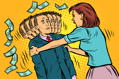 Geldnachfrage. Die Frau schüttelt ihren Mann. Frauen und Männer ungleiche Beziehungen, Ausbeutung. Pop-Art Retro-Vektor-Illustration Vintage-Kitsch 50er 60er Jahre