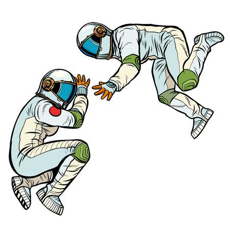 two astronauts in zero gravity. Pop art retro vector illustration kitsch vintage