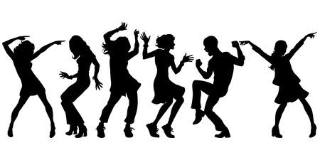 Silhouetten-Sammlungssatz. junge Leute tanzen. Männer Frauen Jungen Mädchen. Pop-Art Retro-Vektor-Illustration Kitsch Vintage Vektorgrafik
