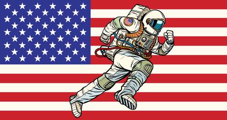 American astronaut patriot runs forward. USA flag. Pop art retro vector illustration vintage kitsch