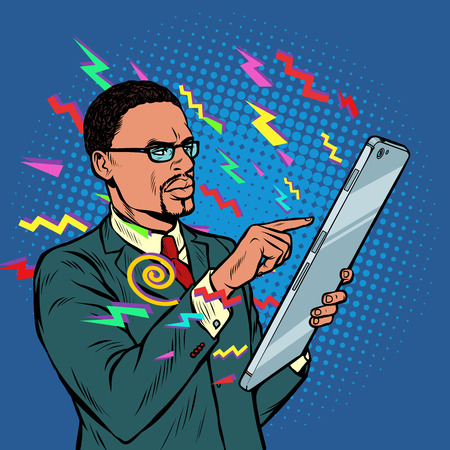 information from the Internet. african businessman and smartphone with large screen. Pop art retro vector illustration vintage kitsch 50s 60s Imagens - 124011170