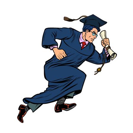 graduate of University College isolate on white background. Pop art retro vector illustration vintage kitsch Illustration
