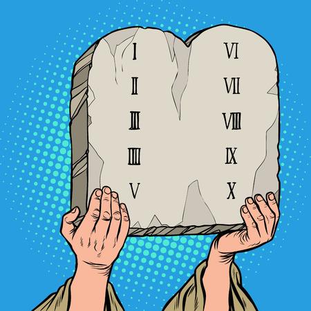 tablas del pacto. Diez mandamientos de Moisés. Ilustración de vector retro pop art vintage kitsch 50s 60s
