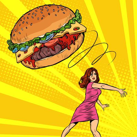 Frau wirft Burger, Fast Food. Diät und gesunde Ernährung. Pop-Art Retro-Vektor-Illustration Vintage-Kitsch 50er 60er Jahre
