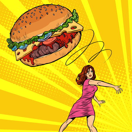 Woman throws Burger, fast food. Diet and healthy eating. Pop art retro vector illustration vintage kitsch 50s 60s