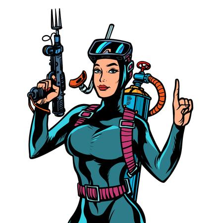 Buzo femenino en traje de neopreno, una pistola para la pesca submarina. Ilustración de vector retro pop art kitsch vintage