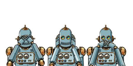 Roboter. Ich sehe nichts, höre nichts, sage nichts. auf weißem Hintergrund isolieren. Pop-Art Retro-Vektor-Illustration Vintage-Kitsch Vektorgrafik