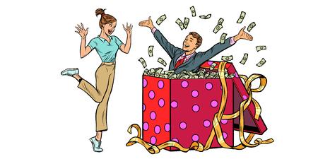 femme heureuse surprise. homme avec un cadeau en argent. isoler sur fond blanc. Pop art rétro illustration vectorielle kitsch vintage