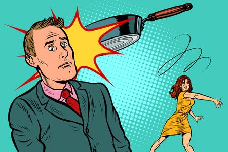 żona rzuciła patelnią w męża. skandal rodzinny. Pop-art retro wektor ilustracja vintage kicz 50 lat 60. Ilustracje wektorowe