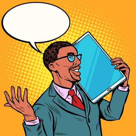 african Businessman talking on the phone with a very large screen, tablet. humor gadgets technique. Pop art retro vector illustration vintage kitsch 50s 60s Vektoros illusztráció