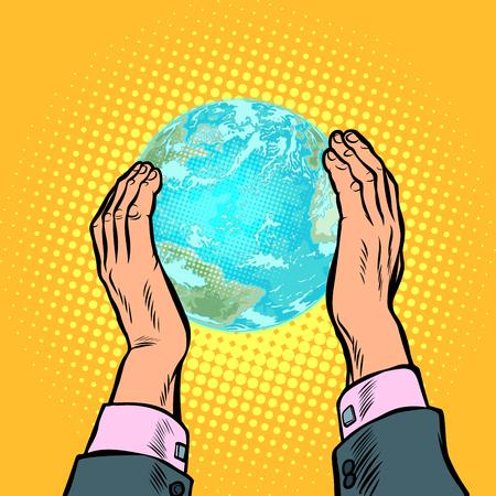 Giornata della Terra ecologia conservazione della natura pianeta umanità casa. Pop art retrò illustrazione vettoriale vintage kitsch anni '50 anni '60