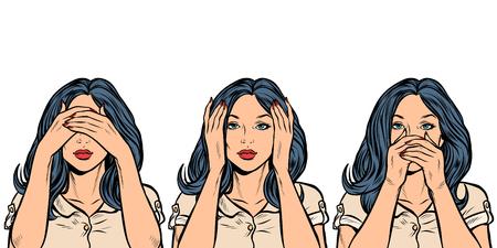 kobieta nic nie widzę, nic nie słyszę, nic nie mówię. izolować na białym tle. Pop-art retro wektor ilustracja vintage kicz