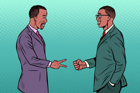 african businessmen game rock paper scissors. Pop art retro vector illustration vintage kitsch 50s 60s