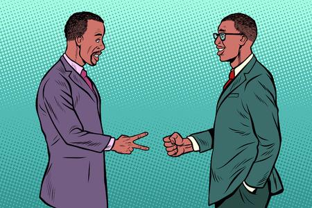 hommes d'affaires africains jeu rock papier ciseaux. Pop art retro vector illustration kitsch vintage des années 50 60