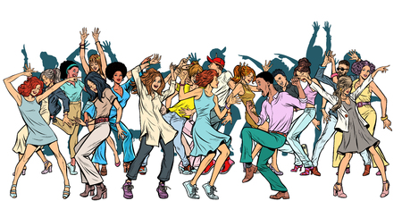 Group of dancing youth, isolate on a white background. Pop art retro vector illustration vintage kitsch