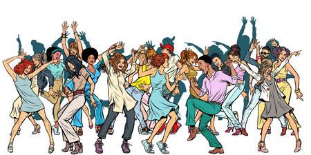 Grupo de jóvenes bailando, aislar sobre un fondo blanco. Pop art retro vector ilustración vintage kitsch Ilustración de vector