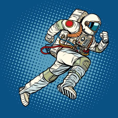 astronauta biegnie do przodu. Pop-art retro wektor ilustracja vintage kicz Ilustracje wektorowe