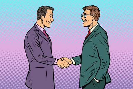 caucasian businessmen men handshake. Pop art retro vector illustration vintage kitsch 50s 60s 向量圖像