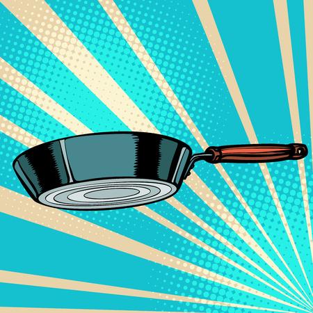 griddle frying pan skillet saucepan kitchen utensils. Pop art retro vector illustration vintage kitsch 50s 60s
