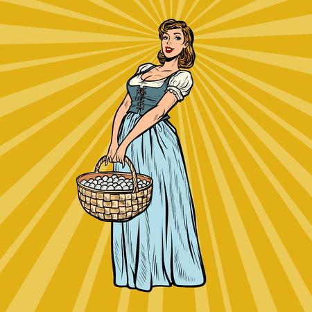village woman with a basket of eggs. Pop art retro vector illustration vintage kitsch 50s 60s