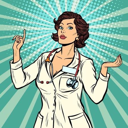 gesto de presentación de la doctora. Ilustración de vector retro pop art vintage kitsch 50s 60s Ilustración de vector