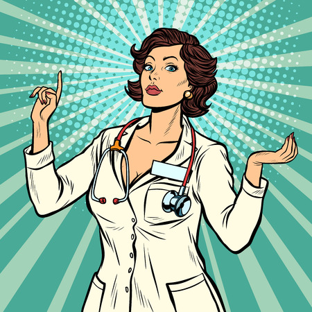 woman doctor presentation gesture. Pop art retro vector illustration vintage kitsch 50s 60s
