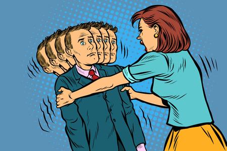 scandalo familiare La moglie scuote il marito. Rapporti diseguali tra donne e uomini, sfruttamento. Pop art retrò illustrazione vettoriale vintage kitsch anni '50 anni '60