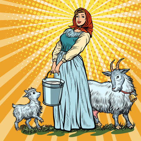 a village woman with bucket of milk goats. Pop art retro vector illustration vintage kitsch 50s 60s
