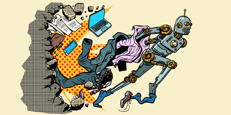 The robot breaks out of human stereotypes. New life. breaking the wall. Pop art retro vector illustration vintage kitsch