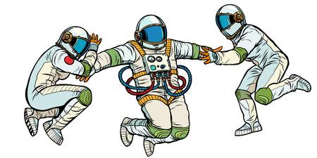 three astronauts in space in zero gravity. isolate on white background. Pop art retro vector illustration kitsch vintage Illustration