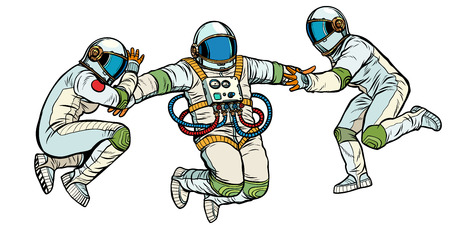 three astronauts in space in zero gravity. isolate on white background. Pop art retro vector illustration kitsch vintage 向量圖像