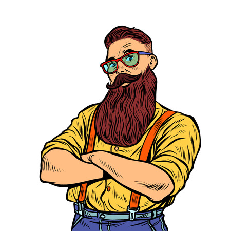 bearded hipster with glasses isolate on white background. Pop art retro vector illustration vintage kitsch 50s 60s