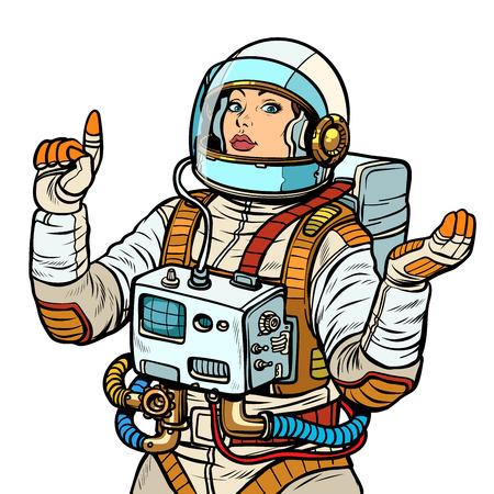 woman astronaut, space exploration isolate on white background. Pop art retro vector illustration vintage kitsch 50s 60s