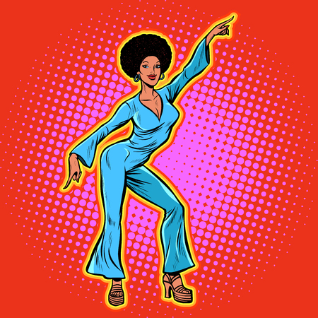 retro African disco dance. Pop art vector illustration kitsch vintage Stock Illustratie