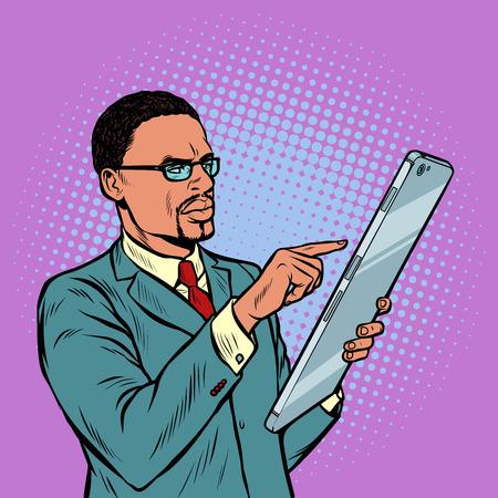 african businessman and smartphone with large screen. Pop art retro vector illustration vintage kitsch 50s 60s Ilustração