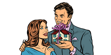 Husband and wife. House as a gift. real estate and rent isolate on white background. Pop art retro vector illustration drawing kitsch vintage Illustration