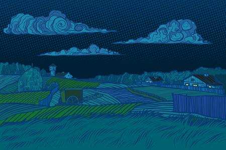 rural landscape night view, houses light in the window. Pop art retro vector illustration vintage kitsch 50s 60s Illustration